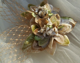 Bridal Headpiece of Vintage Millinery Flowers in Taupe and Apple Green--Made to Order