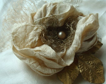 Bridal Comb Hair Piece, Golden Silk and Pearl