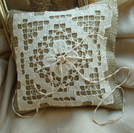 Reserved for calderclark--Natural Burlap Ringbearer Pillows with Antique Lace, Set of Two