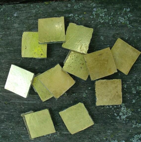 Reserved for ecmb: Vintage Tile, Gold Leaf on Glass, Architectural Salvage