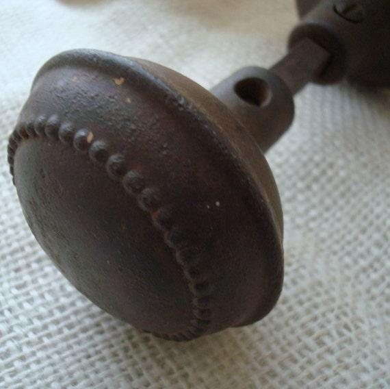 Vintage Cast Iron Doorknob Set with Beaded Design