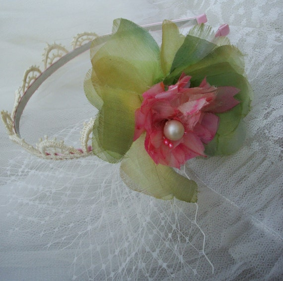 Silk Headband with Vintage Millinery Flower in Pink and Green, Ready to Ship