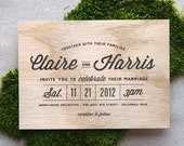 Stacked Type Real Wooden Wedding Invitation