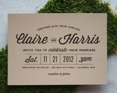 Stacked Typography Retro Modern Wedding Invitation
