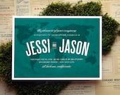 Across the Map Wedding Invitation