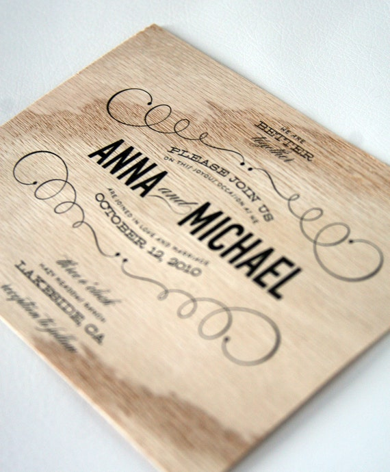 Vintage Type Wooden Wedding Invitations