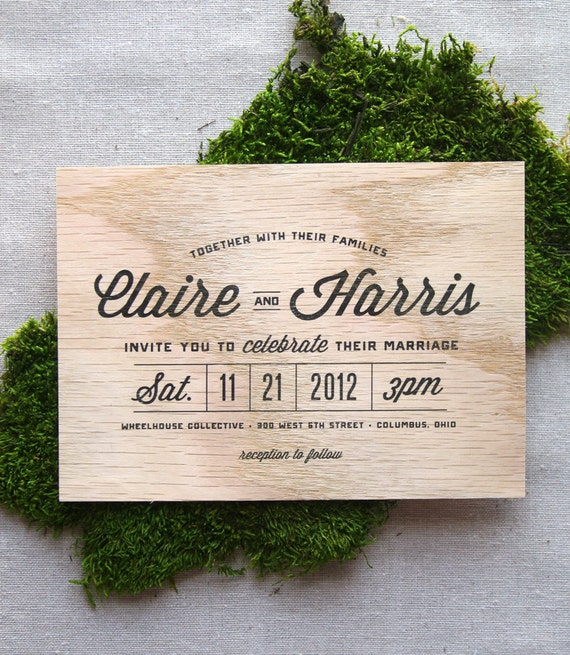 items similar to stacked type real wooden wedding invitation on etsy - Wood Wedding Invitations