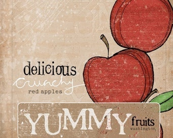 Vintage inspired Crate label print- Delicious Red Apples