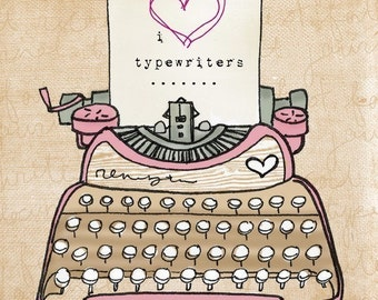 i heart typewriters- Beautifully textured cotton canvas art print. Order as an 8x10 11x14 or 16x20 size.