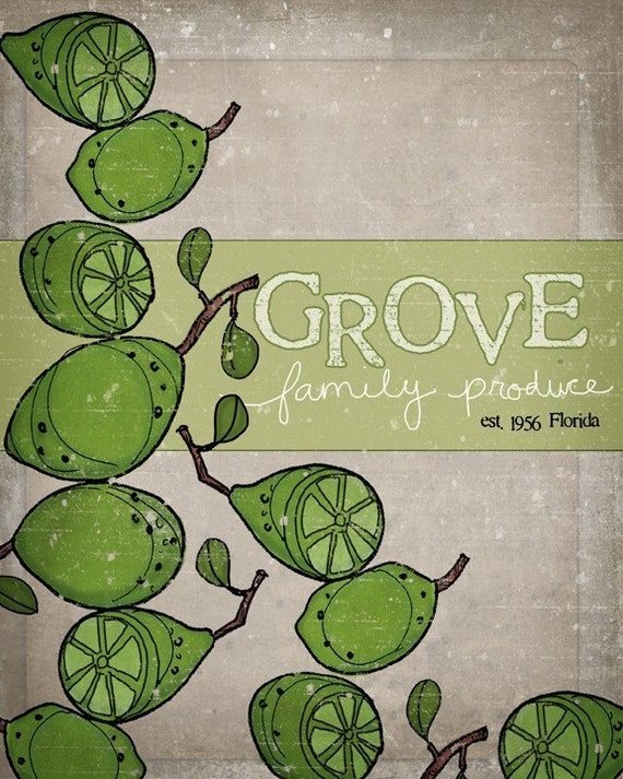 Vintage inspired Crate label print- Grove Family Produce