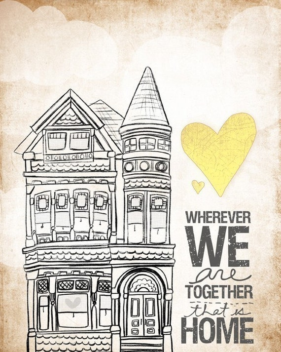 Victorian- Wherever We Are Together Series - Beautifully textured cotton canvas art print. Order as an 8x10 11x14 or 16x20 size.