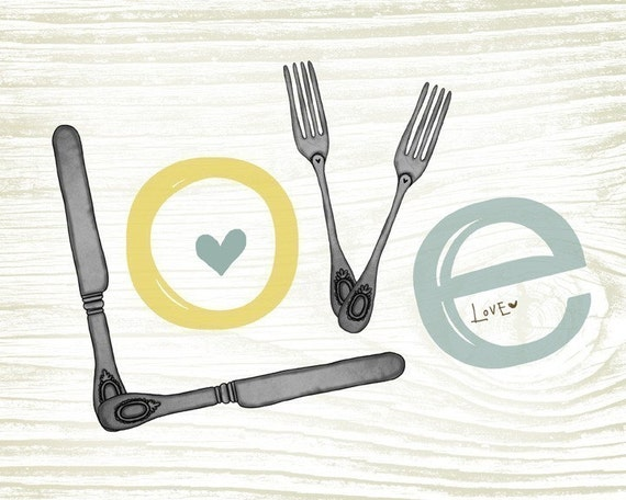 LOVE- perfect for your kitchen- Beautifully textured cotton canvas art print. Order as an 8x10 11x14 or 16x20 size.