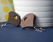 Pendule yellow - wooden earrings with glass beads