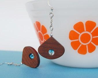 wood and blue beads dangle earrings modern