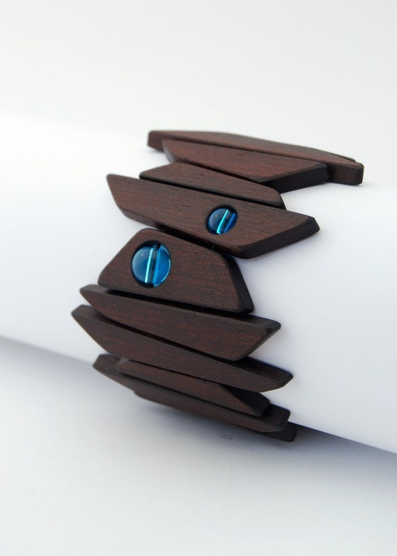 Controlled Chaos Bracelet - wood and blue glass beads - Ready to ship