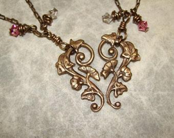 Split Vine Heart Mother Daughter Necklaces or Best Friend Necklaces