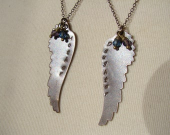 Stamped Brass Wings Mother Daughter Necklaces