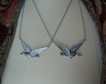 Fly Away Mother Daughter Necklaces in Silver tone, Best Friend Necklaces, Sisters Necklaces