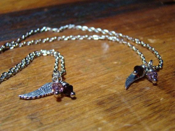 Teeny Tiny Angel Wings Mother Daughter Necklaces, Best Friend Necklaces, Sisters Necklaces