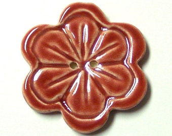 Big Handmade Stoneware Button, Ruby Red