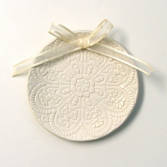 Custom Made with Names and Date Lacy Porcelain Wedding Ring Plate