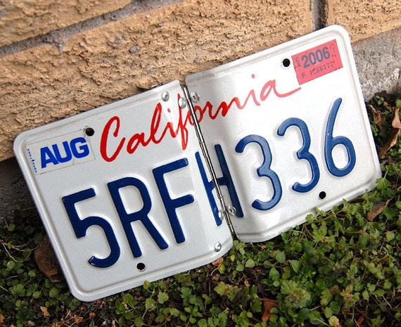 Recycled California license plate photo album