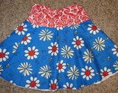 Size 2T/3T Blue and red flowers skirt ready to ship and OOAK