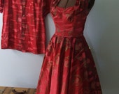 RESERVED 1950s Womens Hawaiian Halter Strapless RED Dress Circle Skirt Small with MENS Matching Hawaiian Shirt Large