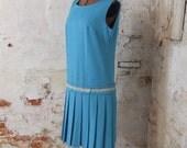 1960s Dress Aqua Blue Rhinestone Studded Pleated Drop Waist 1960s Mod Scooter Dress Large