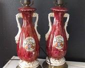 Pair Pink Ceramic Lustreware Lamps Victorian Revival