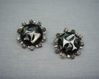 Vintage Earrings Black and White Modern 1960s Clip Ons