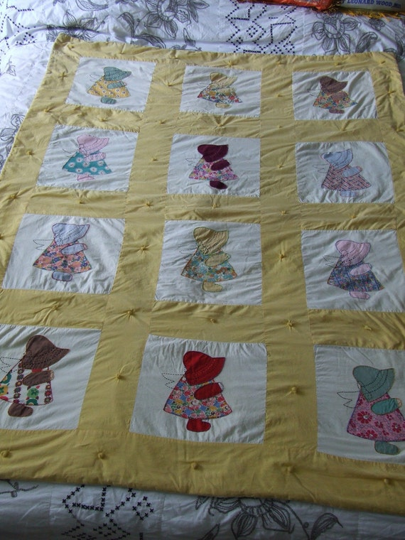 Holly Hobby Feed Sack Small Quilt Crib Toddler Size Yellow And