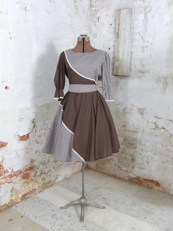 Vintage Brown and White Square Dance Dress Rockabilly Medium Large