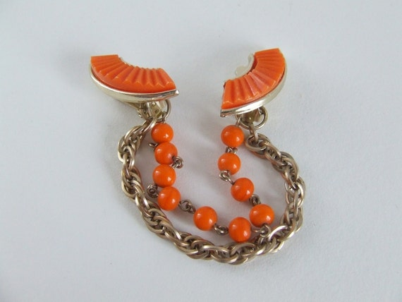 Orange and Gold Beaded Sweater Clip Chain 1950s 1960s