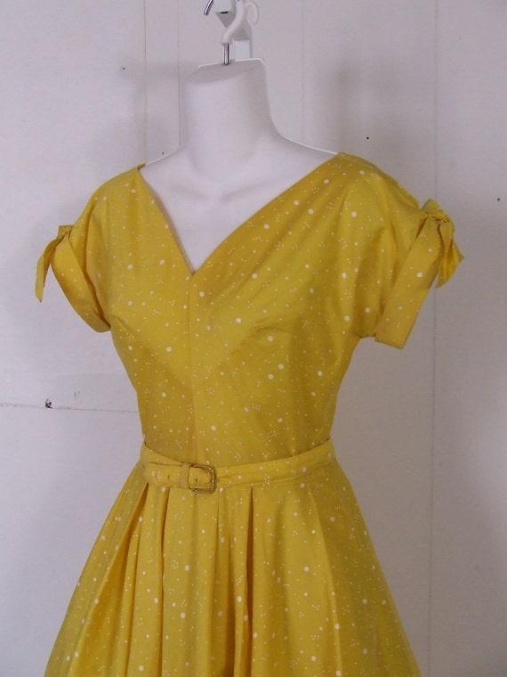 1960s Bright Yellow White Polka Dot Party Dress Small Petite Circle Skirt