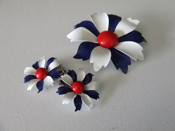 Red White Blue Brooch and Earring Set 1960s Enamel