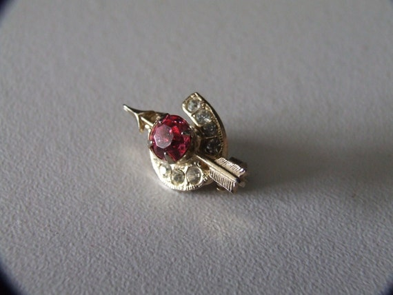 Tiny Good Luck Rhinestone Horseshoe Pin