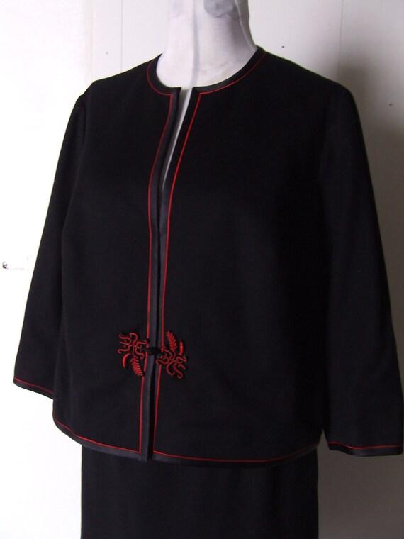 1960s Wool Suit Mandarin Collar Black Two Piece Asian Wool Suit Jacket Skirt Black  Medium Large