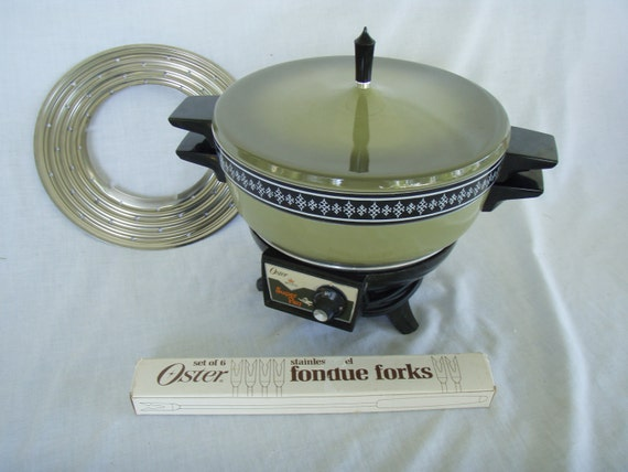 Electric Fondue Pot Oster Super Pot Avocado Green With Forks