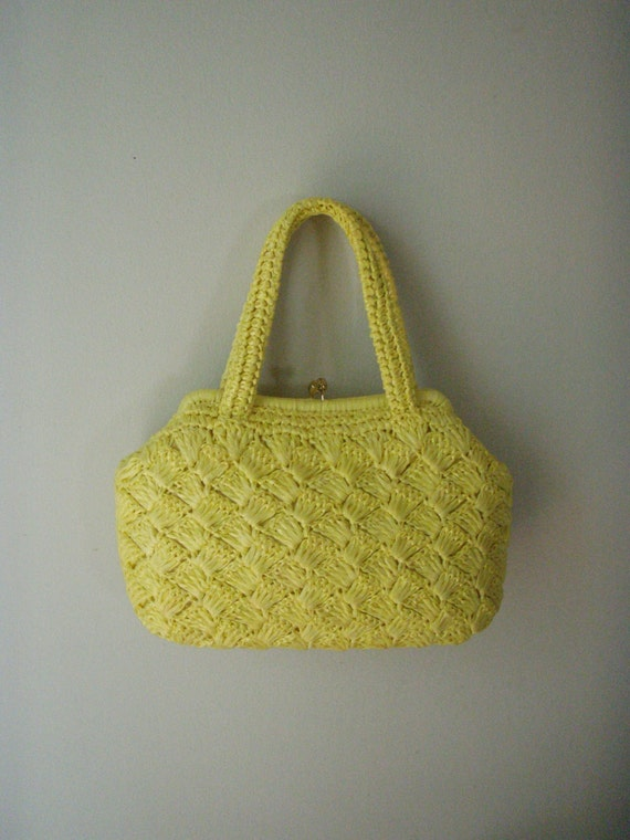 1960s Purse Yellow Plastic Straw Kelly Style Hand Bag