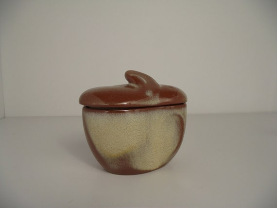 Frankoma Lazy Bones Sugar Bowl with Lid Satin Brown or Cinnamon Glaze