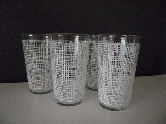 Mid Century Glasses Drinking Glasses Retro Barware White Federal