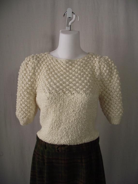 Cream Popcorn Sweater 1970s Shirt Medium or Large