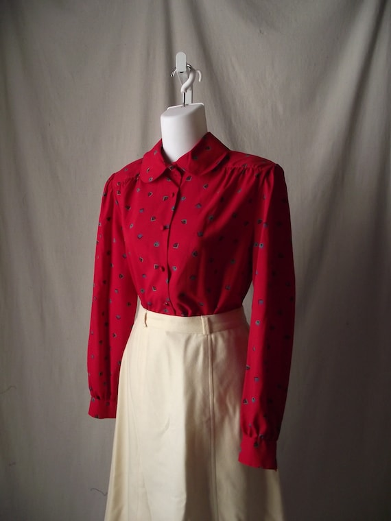 1980s Secretary Blouse Cherry Red with Deco Style Geometric Print