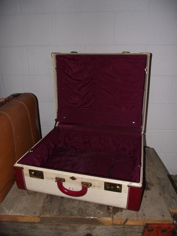 Vintage Suitcase Cream with Burgundy Trim Large Luggage with Burgundy  Interior