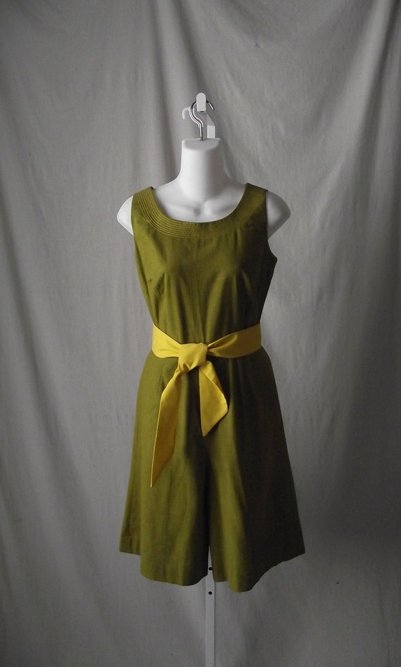 Vintage Romper in Olive and Chartreuse Yellow Vintage Mens Swimsuit Styling Small