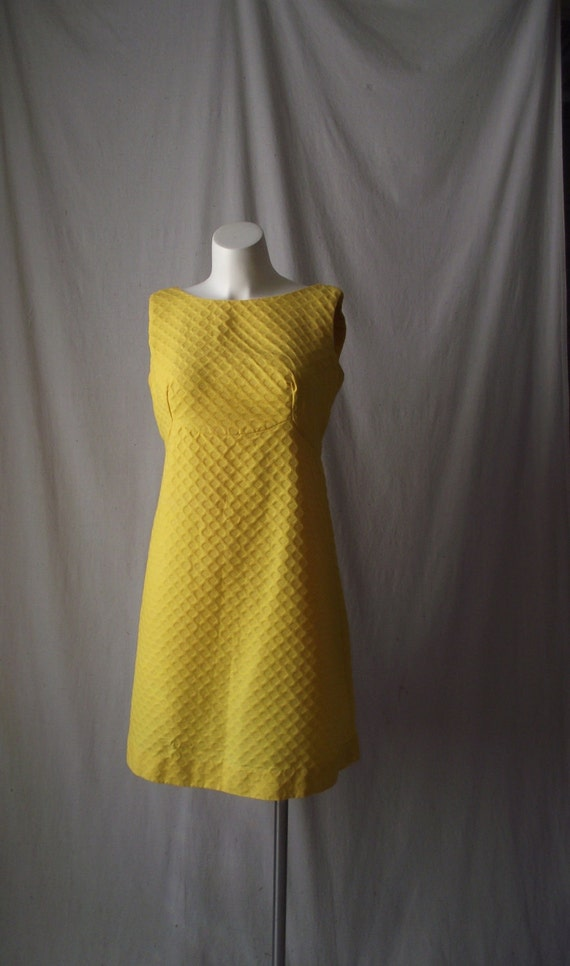 Mod Yellow Dress Honeycomb Embossed Fabric with Bow at Back Medium Petite