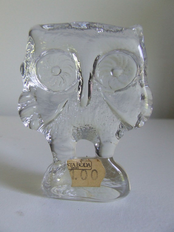 Kosta Boda Swedish Art Glass Zoo Glass Owl Vicke Lindstrand