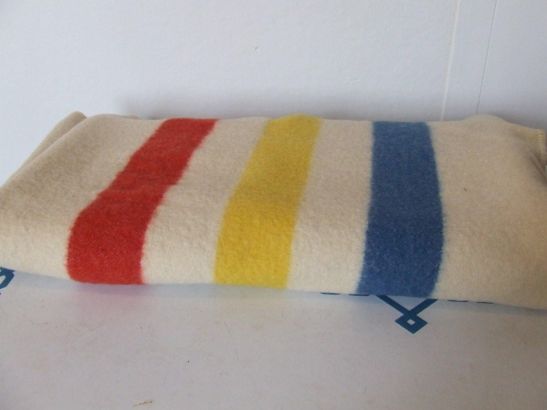 Vintage Striped Wool Camp Blanket Golden By Stilettogirlvintage