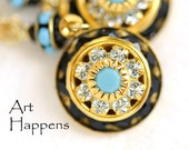 Divine Turquoise Earrings - Swarovski crystal turquoise earrings, art deco crystal earrings, modern southwest earrings
